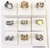 Charmin's stapelring zilver R409 'Marble Collection'_