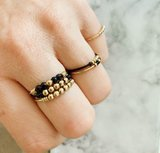 R941 Anxiety Palm Small Black & Gold Steel_