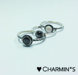 Charmin's  stapelring zilver R297 Hematite 'Natural Stone'_