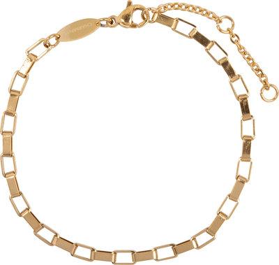 CB49 Rectangle Shackle Braclet Gold Steel