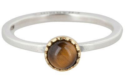 Charmin's  stapelring zilver R295 Tiger Eye 'Natural Stone'