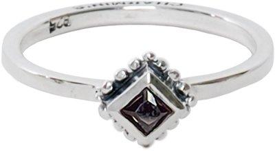 Charmin's  stapelring zilver R006 Black 'Diamond Ace'