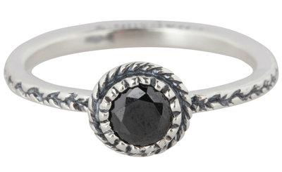 Charmin's  stapelring zilver R289 Black 'Crown Diamond'