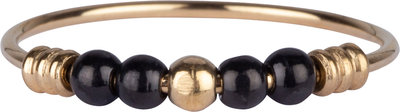 R942 Anxiety Palm Goldplated & Black Ball Steel Charmin's