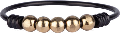 R943 Anxiety Palm Black& Goldplated Ball Steel Charmin's