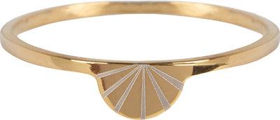 Charmin's goudkleurige stapelring R731 Modern Rainbow goldplated staal