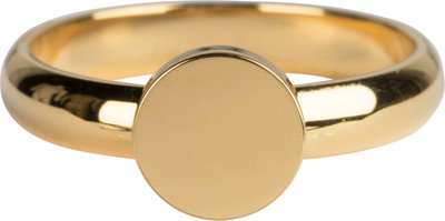 Charmin's goudkleurige stapelring R827 Pudgy Seal Ring Round goldplated staal
