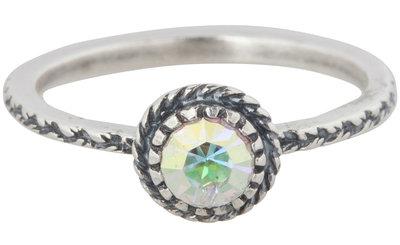 Charmin's  stapelring zilver R285 Black 'Crown Crystal Diamond'