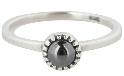 Charmin's  stapelring zilver R297 Hematite 'Natural Stone'